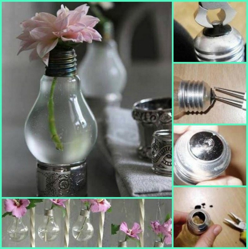 Make a vase out of a dead light-bulb!