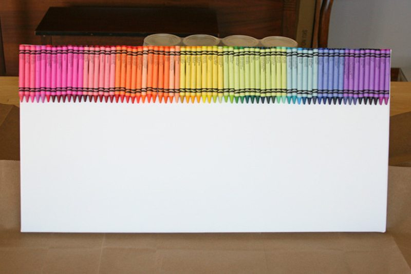 Melted crayon rainbow art tutorial