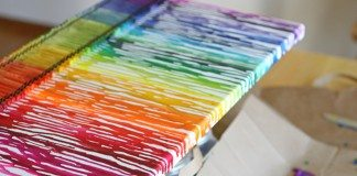 Melted crayon rainbow art