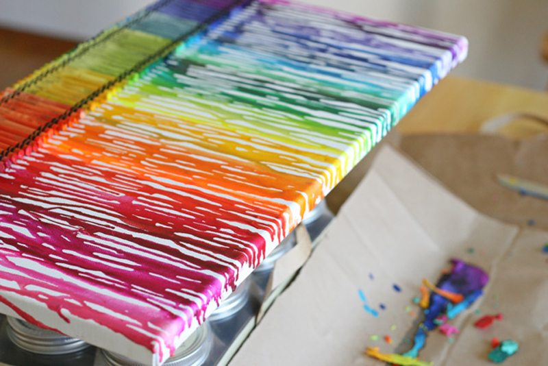 DIY Melted Crayon Wall Decor