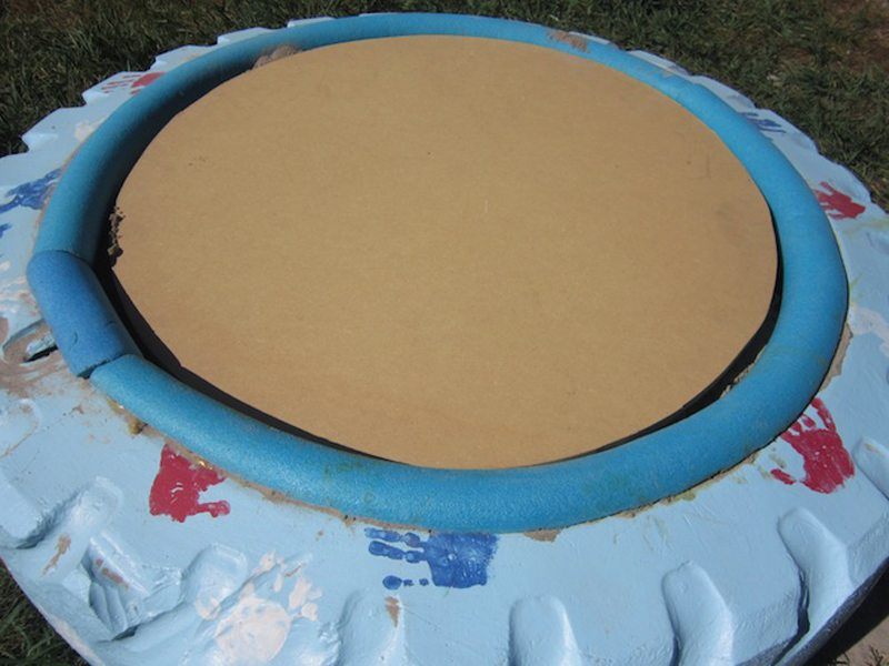 DIY Tire Sandbox with cover