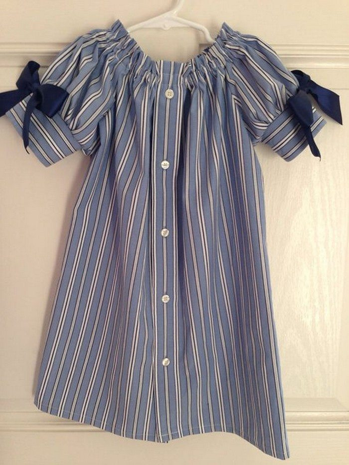 turn daddy�s shirts into a dress for his little girl