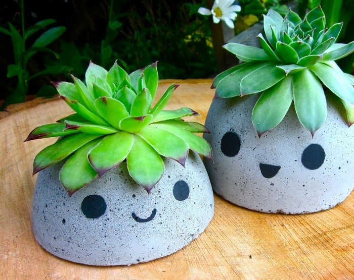 How to make cute concrete planters