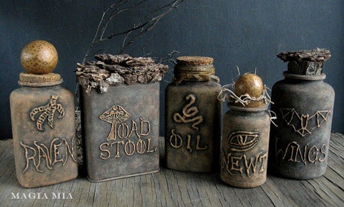 Witch's potion bottles from tin cans and plastic medicine ...