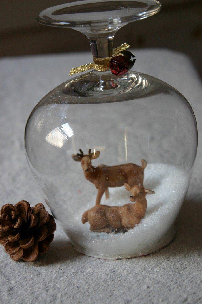 Wine glass snow globes