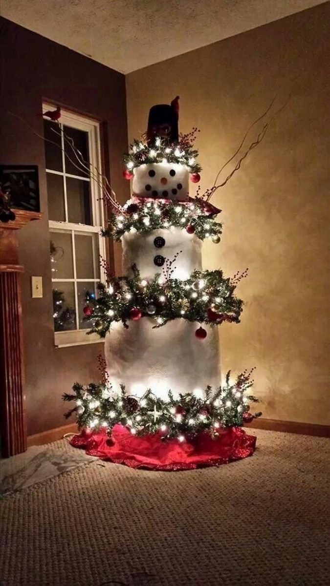 make a snowman out of a christmas tree