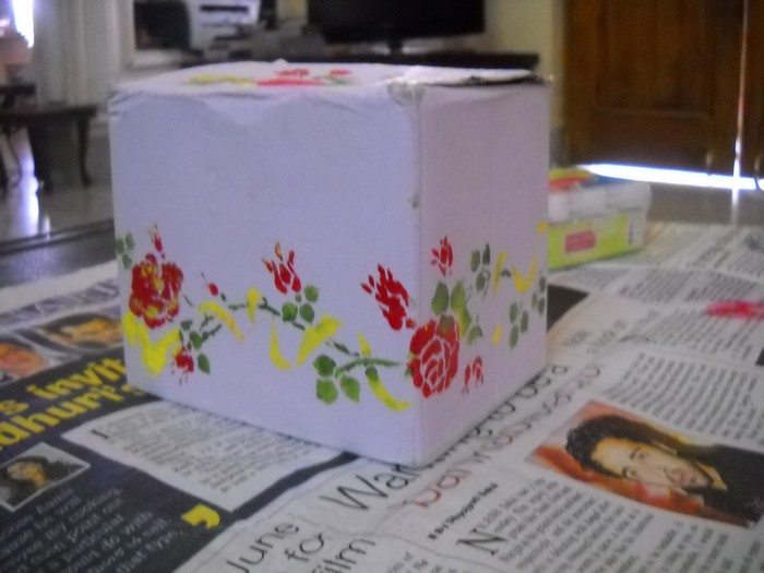 Paint Decorate Box with Stencil Final Product