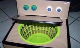 Make a cardboard washing machine for kids!
