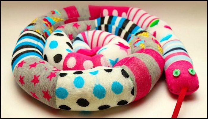 Make a sock snake out of your mismatched socks!