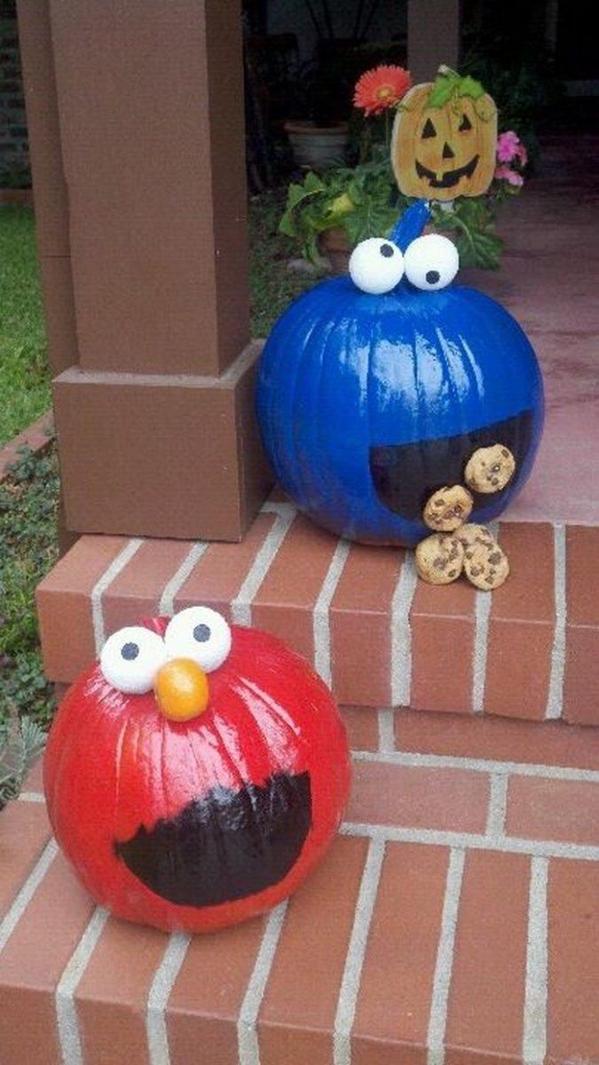 Make sesame street pumpkins for a cute halloween decor for Elmo arts and crafts