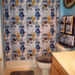 Shower Curtain from Vintage Bed Sheet