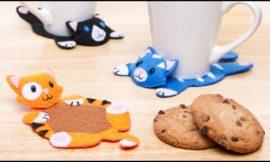 Kitty Stitched Coasters