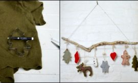 Make cute Christmas ornaments with old sweaters and cookie cutters!