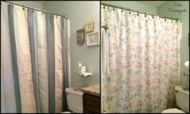 Create your own shower curtain using a vintage bed sheet!