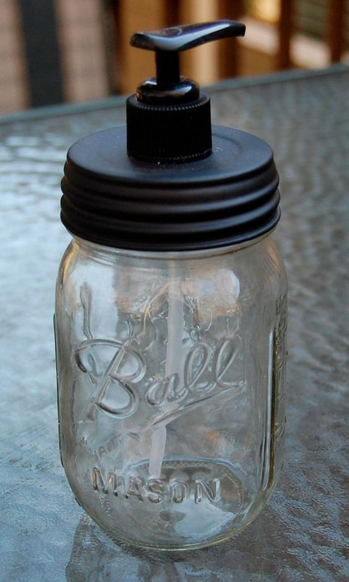 Turn a mason jar into a soap dispenser craft projects for Mason jar bookends