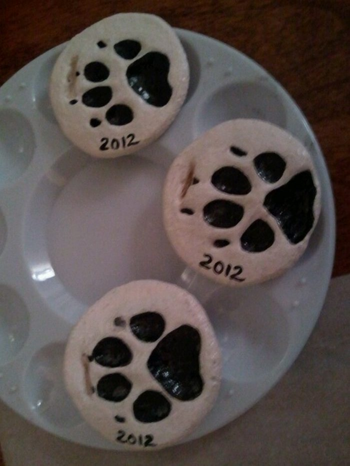 Adorable Puppy Paw Print Salt Dough Ornaments Craft