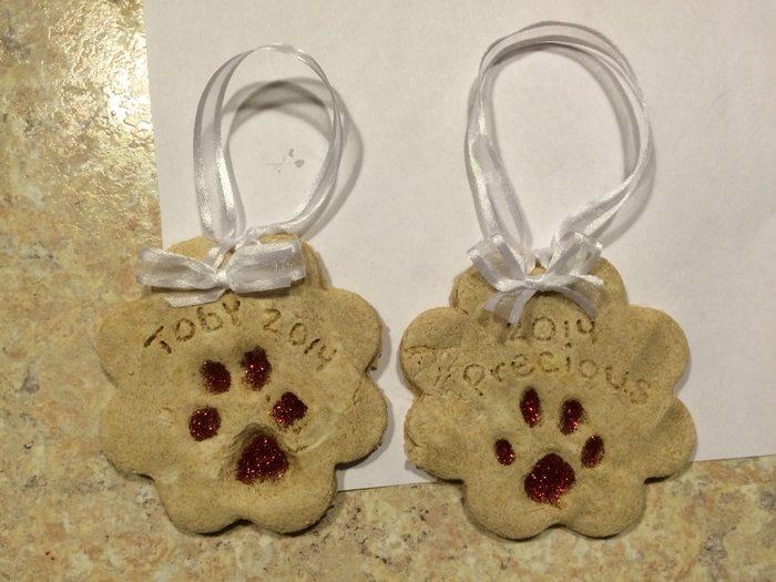 Puppy Paw Print Salt Dough Ornaments