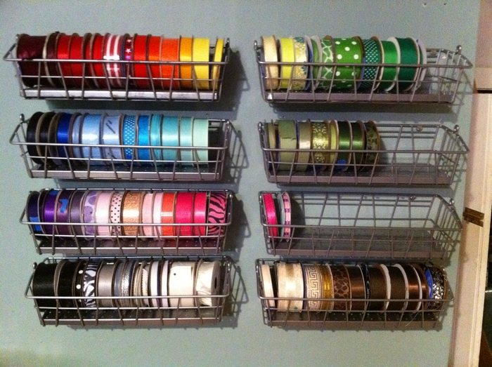 Wire Basket Ribbon Dispenser