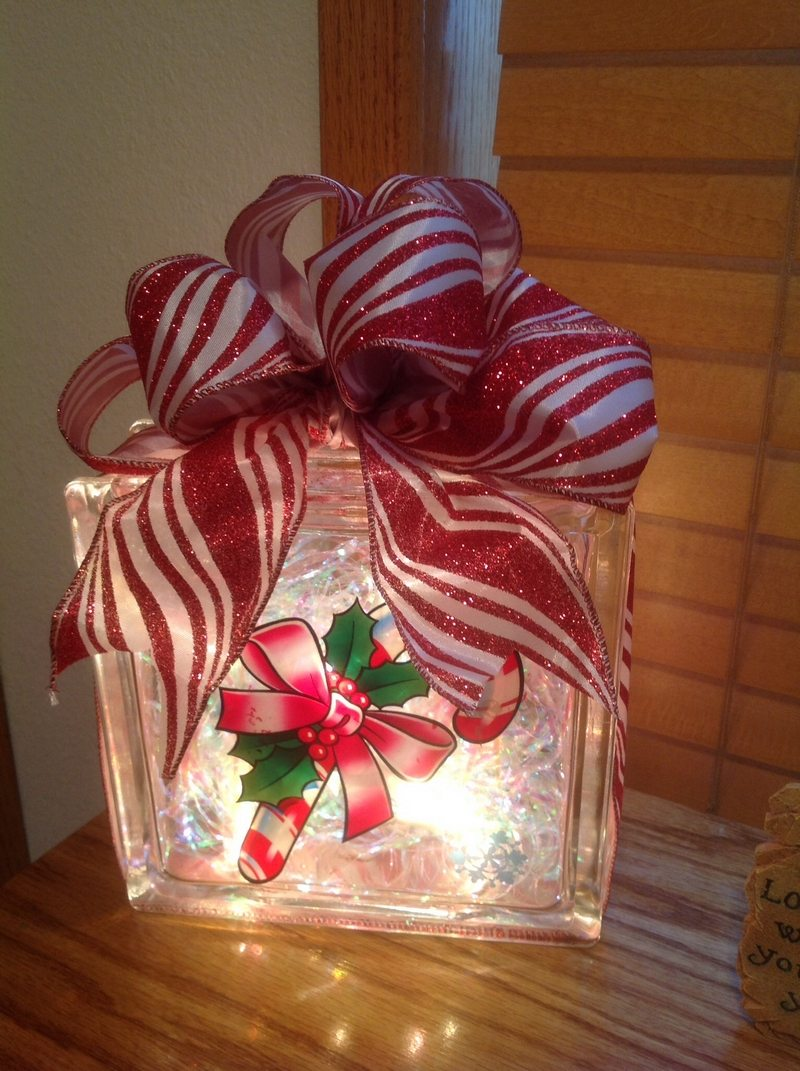 christmas decor - Glass Block Christmas Decorations