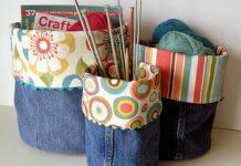 DIY denim fabric baskets