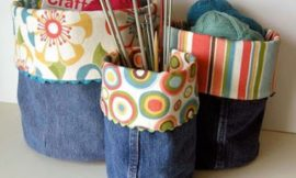 DIY denim fabric baskets