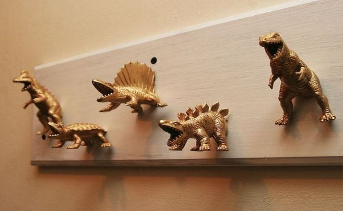 Dinosaur coat hooks - what a way to greet your guests!