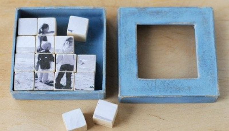 Recycle old toy blocks and make photo puzzles out of them.