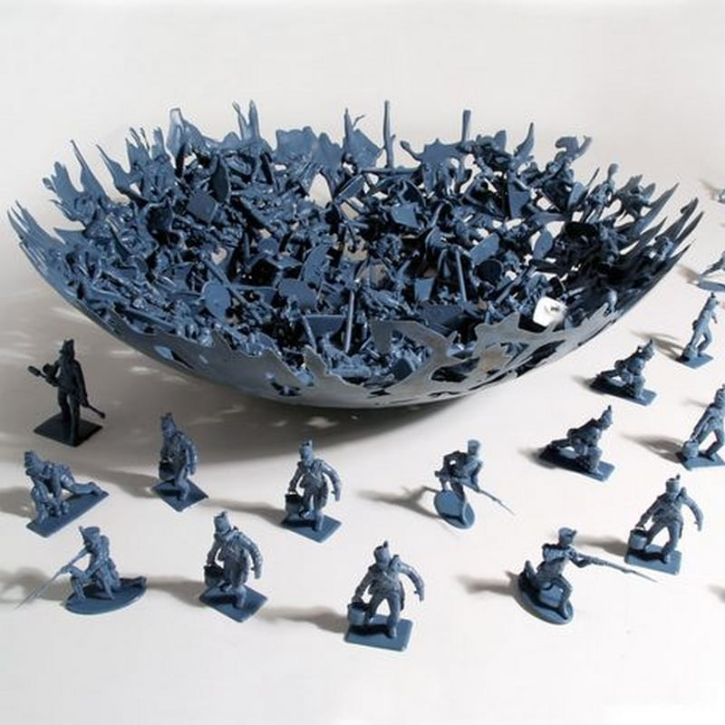These plastic army men turned into a bowl looks like a work of art.