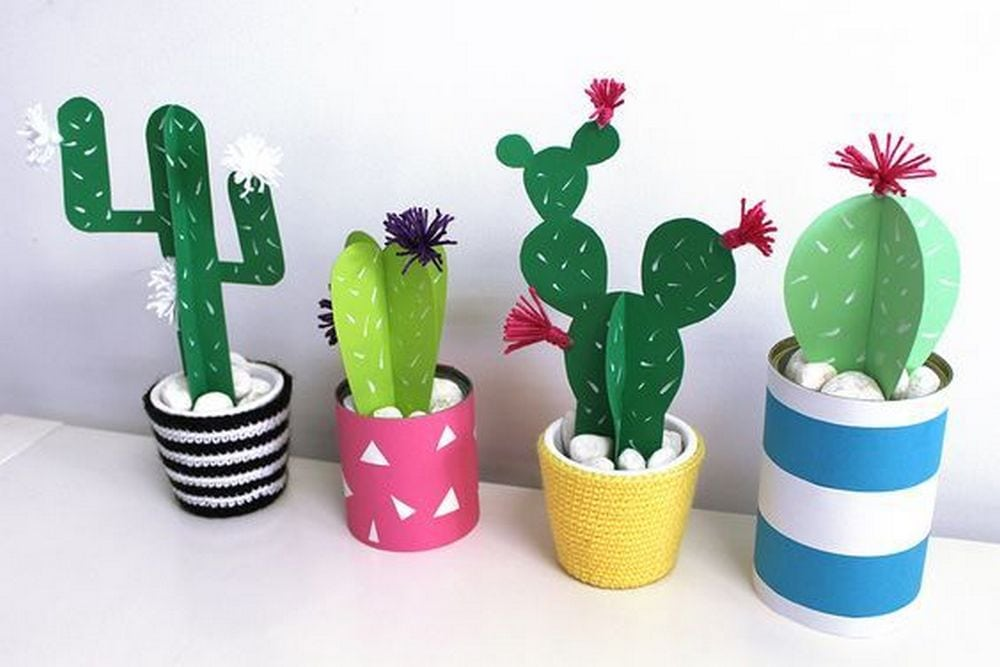 These paper cacti are great substitutes for real ones!