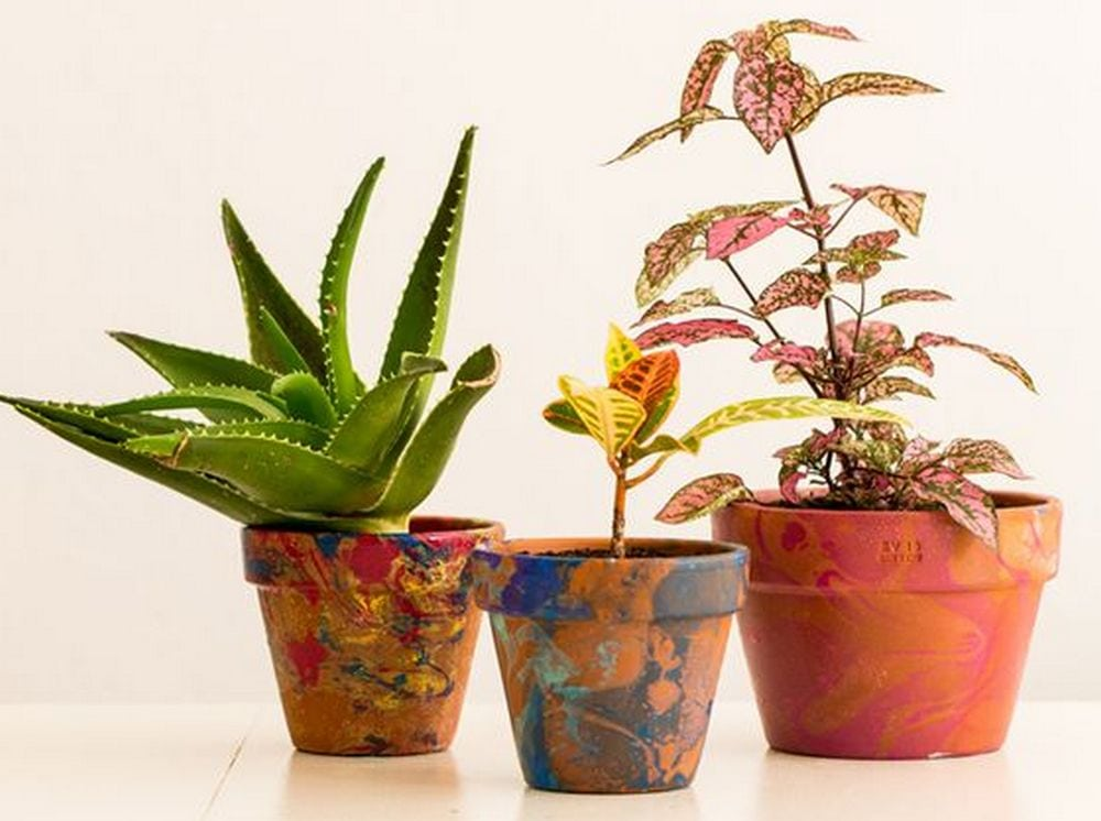 Turn your boring terra cotta flower pots into a work of art through marbling!