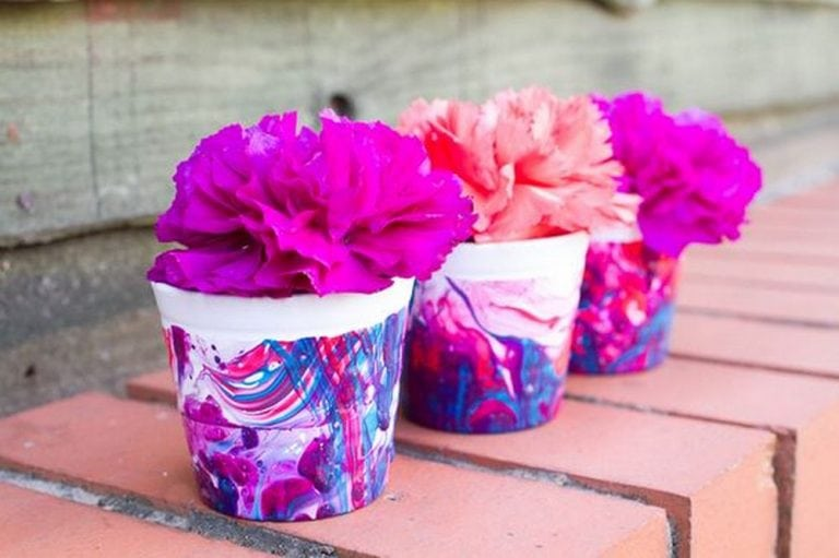 DIY Nail Polish Marbled Flower Pots