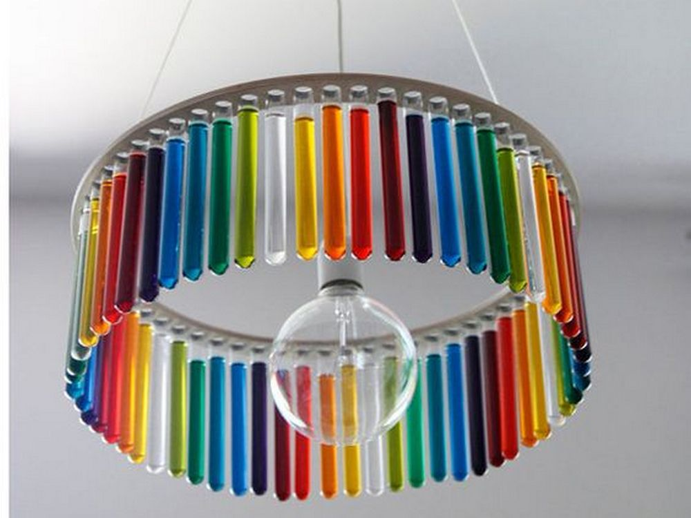 Beautiful and colorful, this DIY test tube chandelier will surely be a talking point!