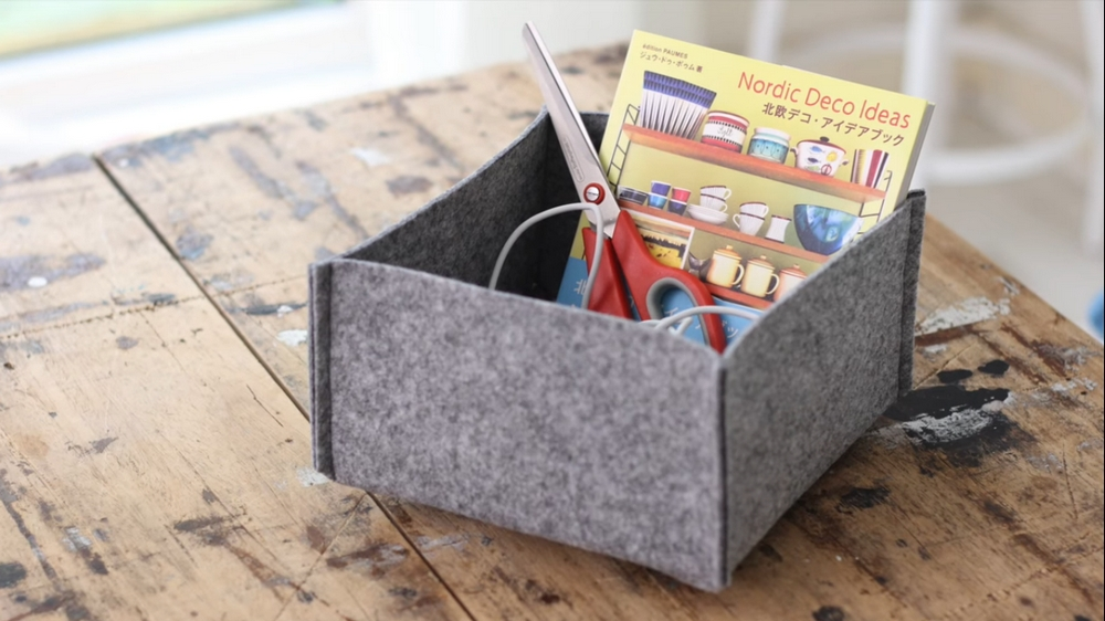 Use a felt basket to organize some of your kids' stuff!