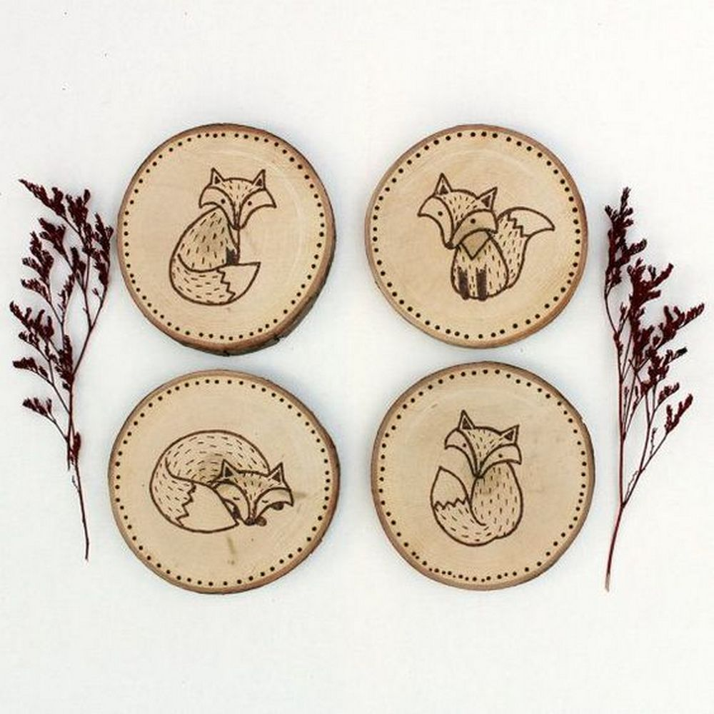 These rustic-looking wood burned coasters are easily personalized and will make great gifts!