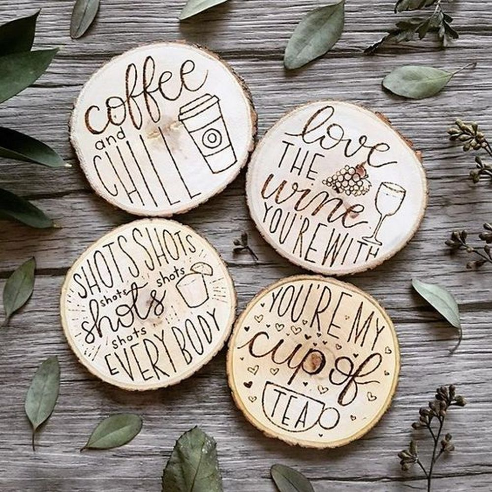 Not only are these wood burned coasters nice to look at, they're very functional, too.