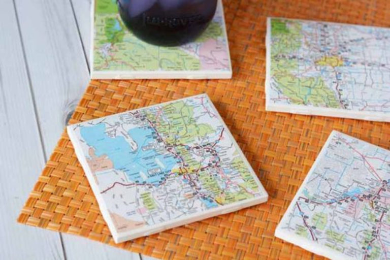 How to Transform Old Maps into DIY Coasters